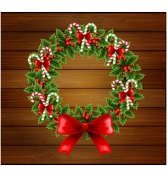 Christmas holly wreath in wood background vector image vector image