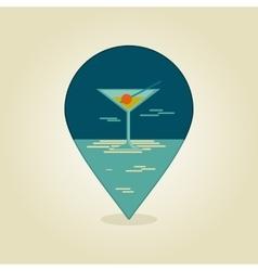 Cocktail pin map icon summer beach sun sea vector
