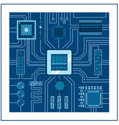 Computer ic chip template microchip on detailed vector