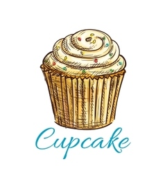 Cupcake isolated sketch with cream and sprinkles vector