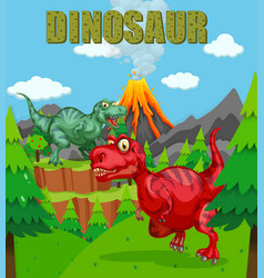 Dinosaur poster with two t-rex in the field vector