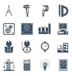 Engineer black icons set vector
