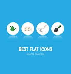 Flat icon dacha set of trowel bailer hay fork vector