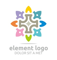 Flower elements lines design abstract vector