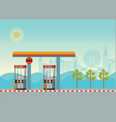 gas petroleum petrol refill station cars with vector image vector image