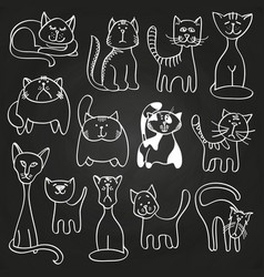 hand drawn doodle cats set on blackboard vector image