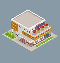 Isometric large supermarket shopping 3d commercial vector