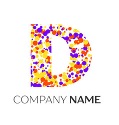 Letter d logo with purple yellow red particles vector
