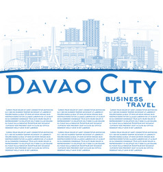 outline davao city philippines skyline with blue vector image vector image