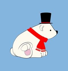 Polar bear in hat vector