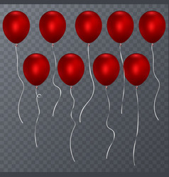 realistic red balloons isolated transparent vector image