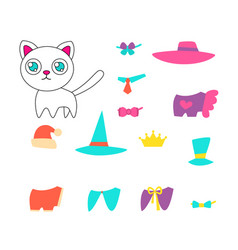 set of clothes for a cat vector image vector image