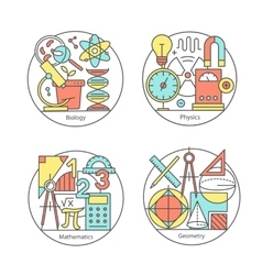 Set of logos biology physics geometry vector