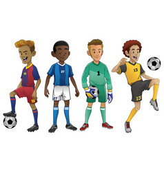 set of young soccer players vector image vector image