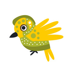 Small cute green and yellow bird colorful cartoon vector