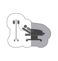 sticker monochrome pictogram person hospitalized vector image