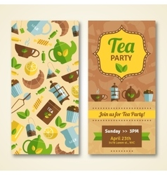 Tea party announcement 2 vertical banners vector