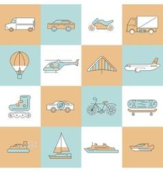 Transport icons flat line set vector image