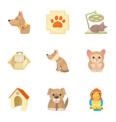 treatment of animals icons set cartoon style vector image vector image