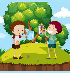 Two boys with colorful marbles in the park vector