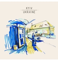 Urban sketch markers drawing of street city kyiv vector