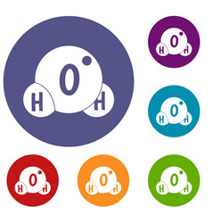 Water molecule icons set vector