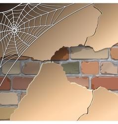 Wall with cobwebs vector