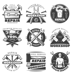 Vintage repair workshop label set vector