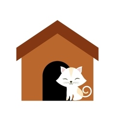 Cat clossed eyes feline brown house vector