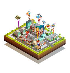 Store buiding island isometric concept vector