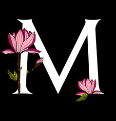 letter m with poppy flower vector image