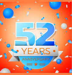 Fifty two years anniversary celebration vector