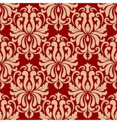 Ornate arabesque repeat pattern on red vector