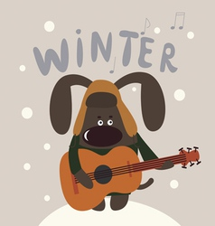Cute winter doggie musician vector