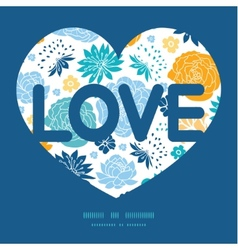 Blue and yellow flowersilhouettes love text vector