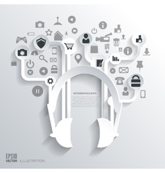 Headphones icon flat abstract background with web vector