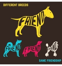 Set of dog breeds silhouettes with text inside vector