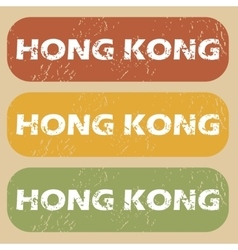 Vintage hong kong stamp set vector
