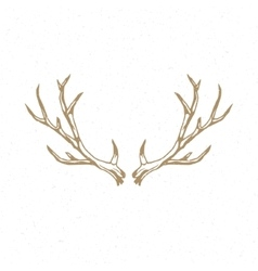 Deer horns hand drawn logo emblem template vector