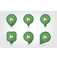 Chicken mapping pins icons vector