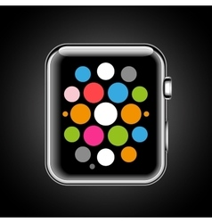 Modern shiny smart watch with applications icons vector