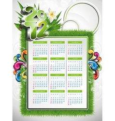 calendar design 2012 with nature design vector image