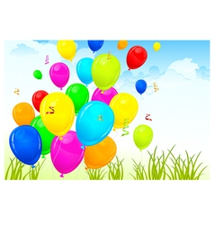 Landscape with color balloons vector