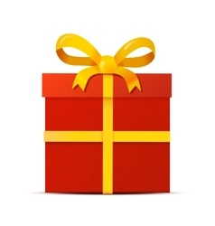 Red gift box with yellow ribbon on white vector
