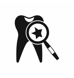 Tooth with magnifying glass icon simple style vector