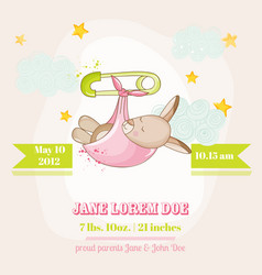 baby girl kangaroo sleeping - baby shower card vector image vector image