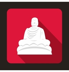 Buddha statue icon flat style vector image vector image