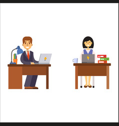 Business people man and woman sitting at office vector