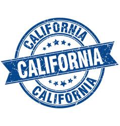 California blue round grunge vintage ribbon stamp vector