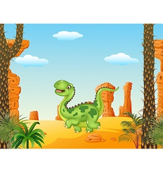 Cartoon funny walking dinosaur in the desert vector image vector image